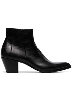 Saint Laurent black Finn 60 leather cowboy ankle boots