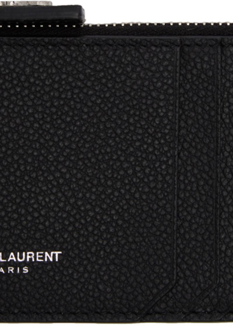 Saint Laurent Black Fragment Zipped Card Holder