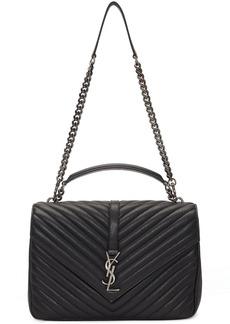 Saint Laurent Black Large Quilted College Bag