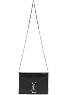 Saint Laurent Black Medium Croc Cassandra Bag