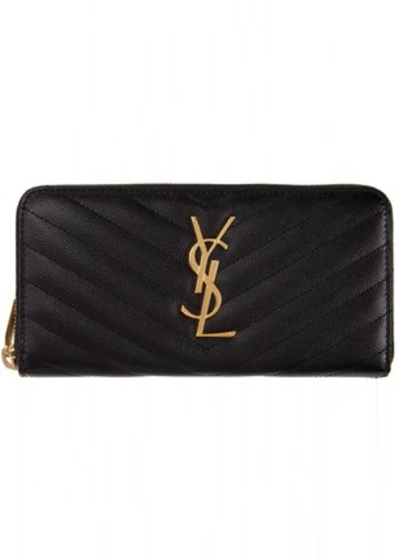 Saint Laurent Black Monogramme Zip Around Wallet