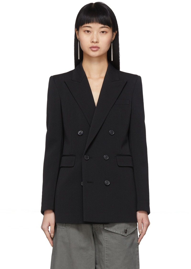 Saint Laurent Black Wool Double-Breasted Grosgrain Blazer