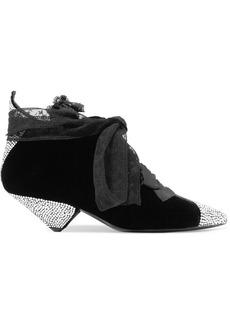 Saint Laurent Blaze Crystal-embellished Lace-trimmed Velvet Ankle Boots