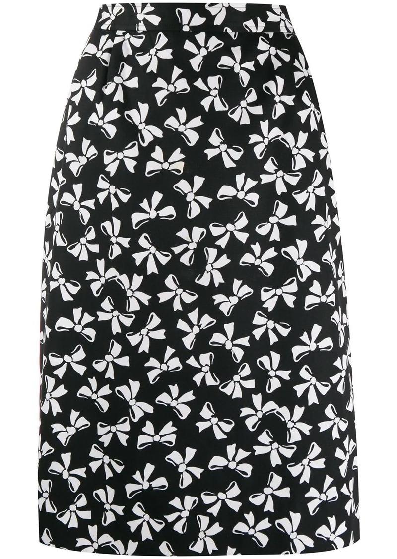 Saint Laurent bow print skirt