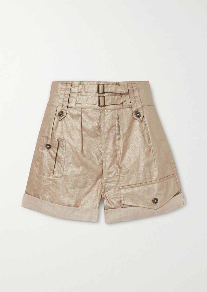 Saint Laurent Buckled Metallic Linen Shorts