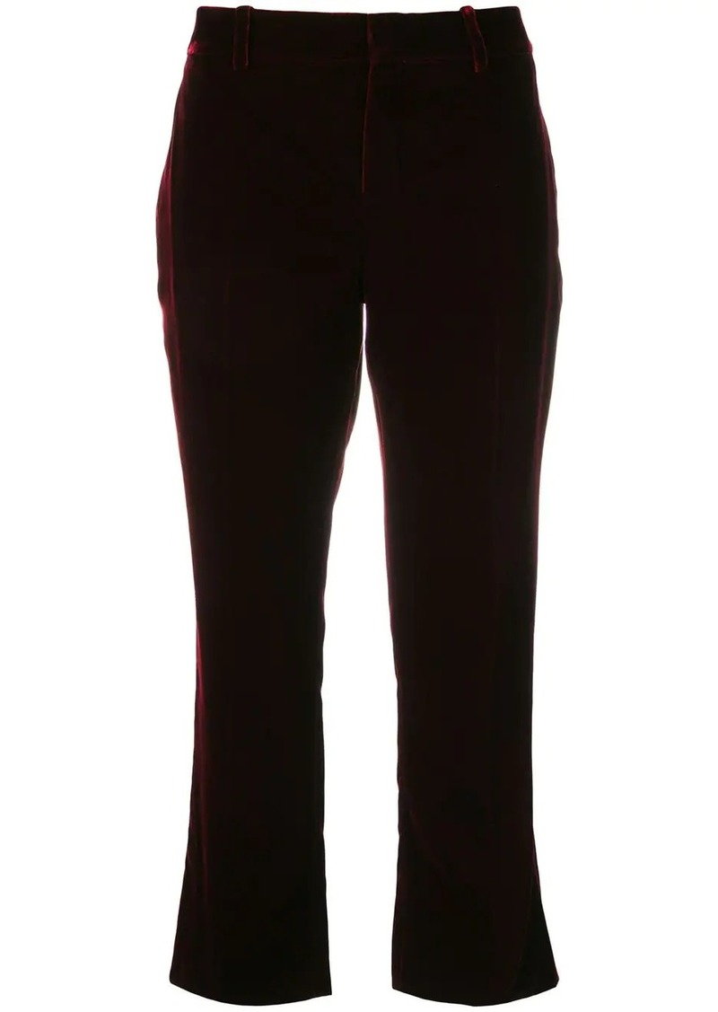 Saint Laurent Burgundy Mid rise flared velvet trousers