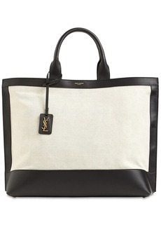 Saint Laurent Cabas Canvas & Leather Tote Bag