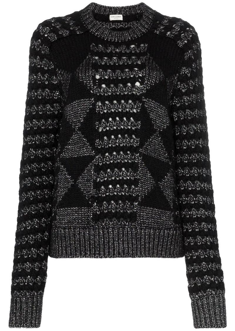 Saint Laurent cable knit mohair jumper