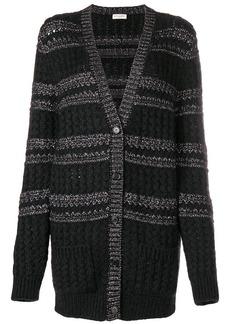 Saint Laurent cable knit striped cardigan