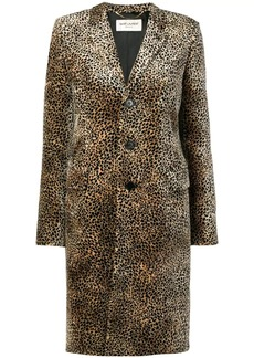 Saint Laurent Chesterfield leopard print coat