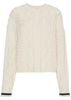 Saint Laurent contrast cuff cable knit sweater