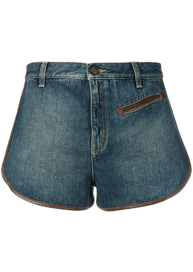 Saint Laurent contrast piping denim shorts
