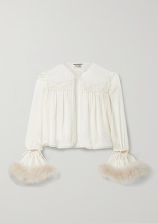Saint Laurent Convertible Feather And Lace-trimmed Silk Blouse