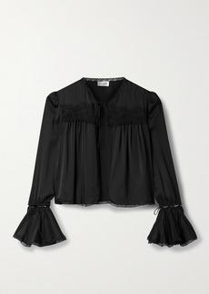 Saint Laurent Convertible Lace-trimmed Silk Blouse