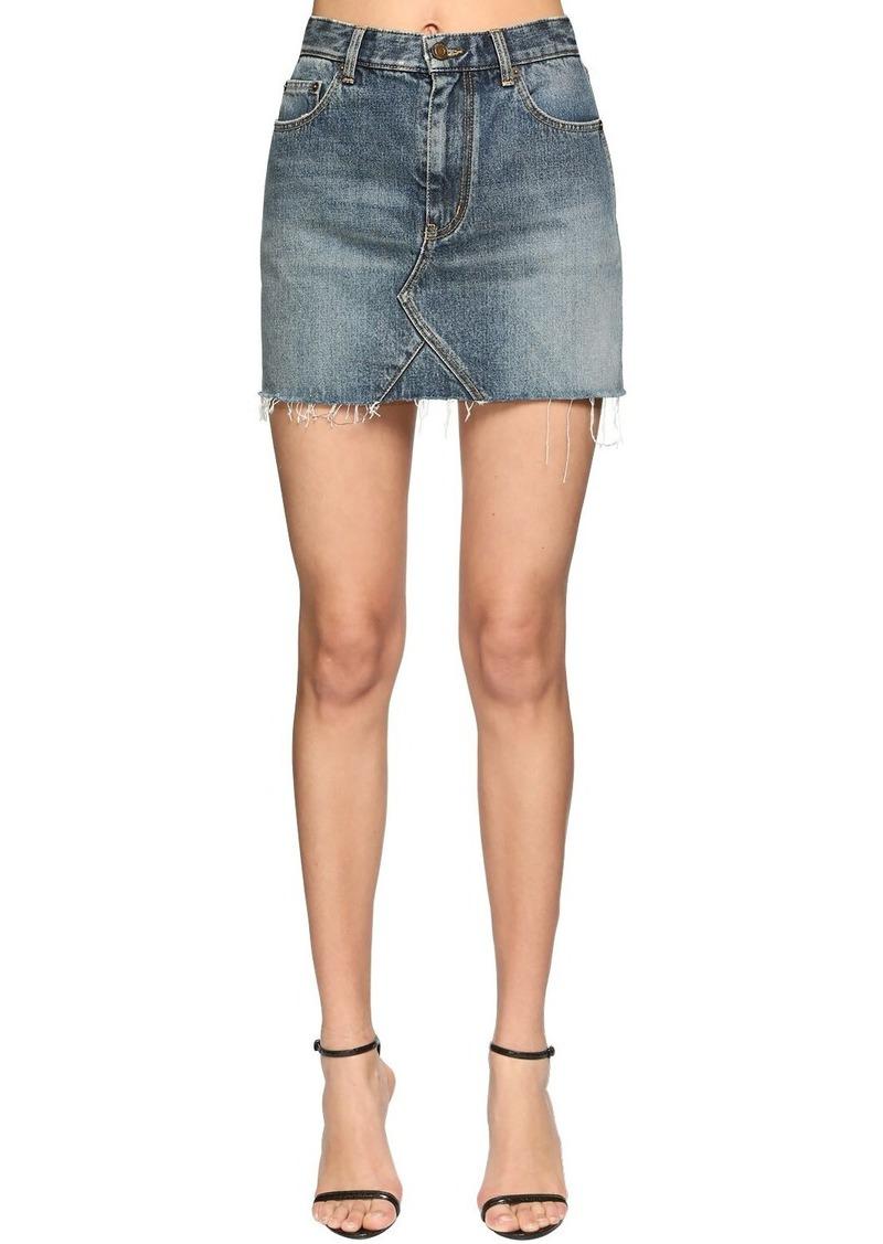 Saint Laurent Cotton Denim Mini Skirt