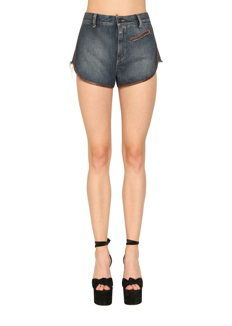 Saint Laurent Cotton Denim Shorts W/ Leather Piping
