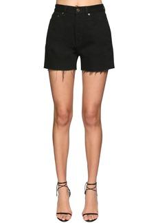 Saint Laurent Cotton Denim Shorts W/raw Cut Hem
