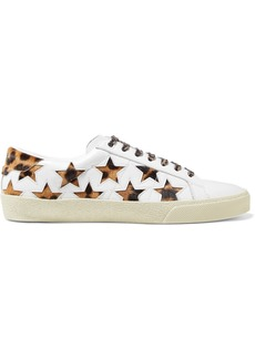 Saint Laurent Court Classic Leopard-print Calf Hair And Leather Sneakers
