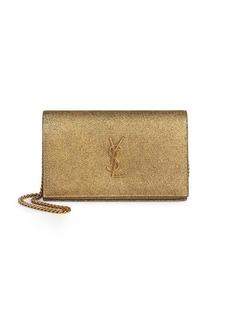 Saint Laurent Metallic Cracked Leather Wallet on Chain