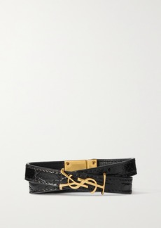 Saint Laurent Croc-effect Leather And Gold-tone Bracelet