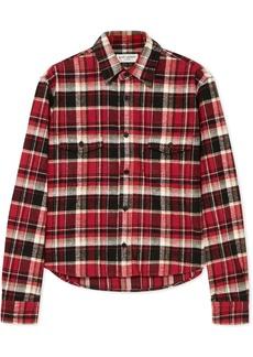 Saint Laurent Cropped Checked Cotton-flannel Shirt