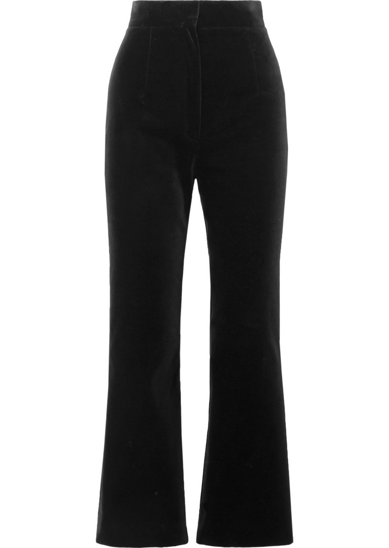 Saint Laurent Cropped Cotton-velvet Flared Pants
