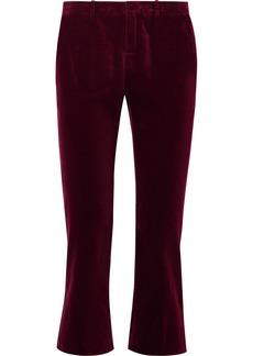 Saint Laurent Cropped Cotton-velvet Flared Pants