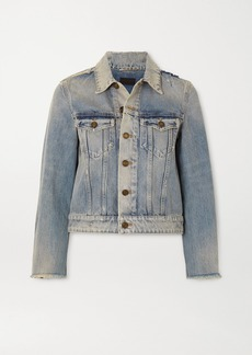 Saint Laurent Cropped Distressed Denim Jacket