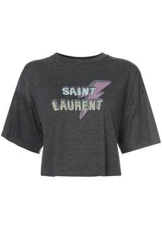 Saint Laurent cropped lightening bolt T-shirt
