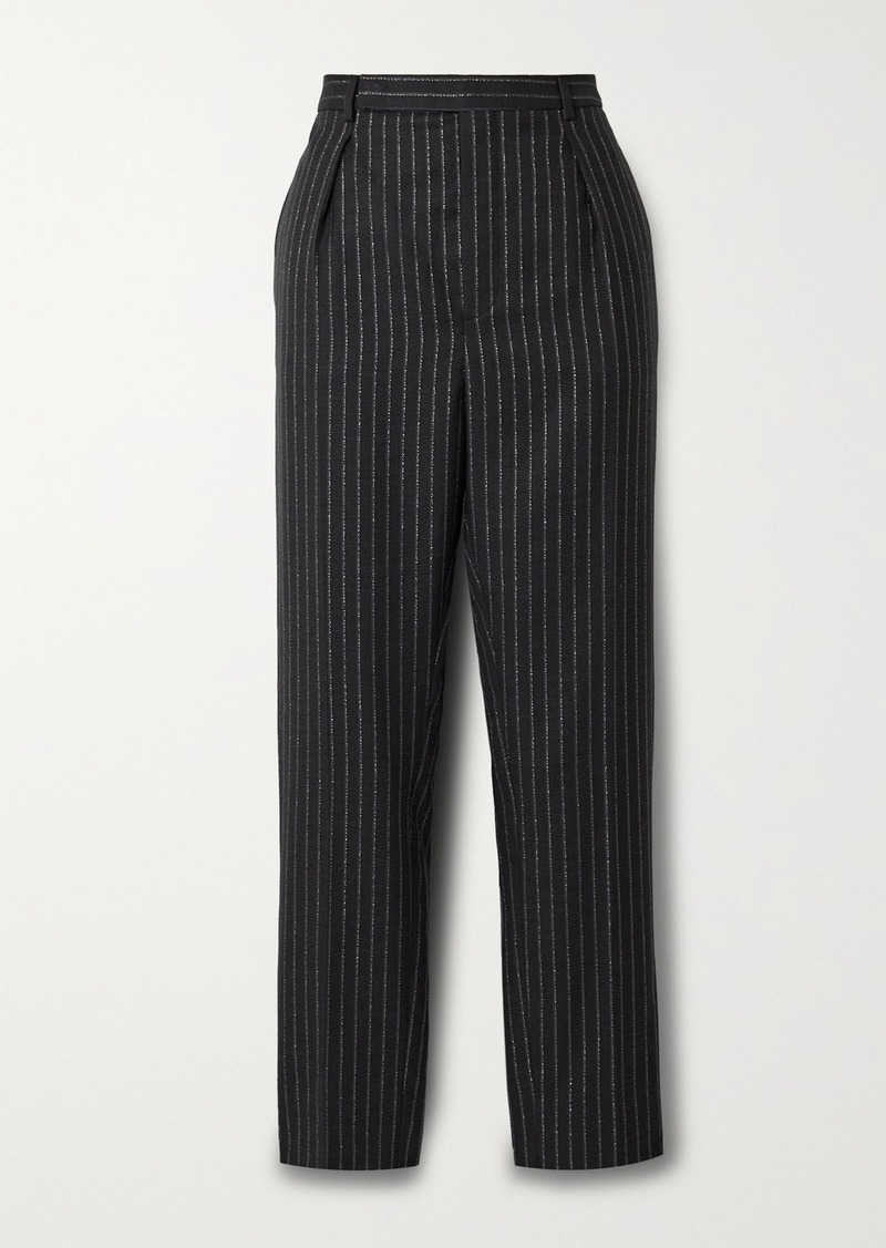 Saint Laurent Cropped Metallic Pinstriped Wool-blend Twill Straight-leg Pants