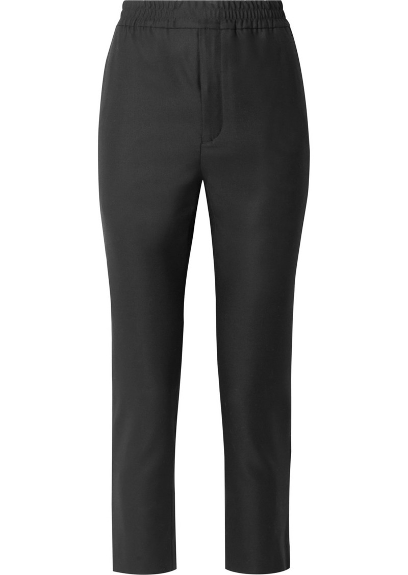 Saint Laurent Cropped Satin-trimmed Wool And Mohair-blend Track Pants