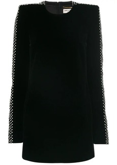 Saint Laurent crystal-embellished velvet dress