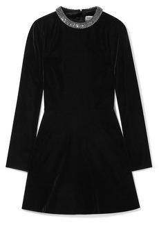 Saint Laurent Cutout Embellished Velvet Mini Dress