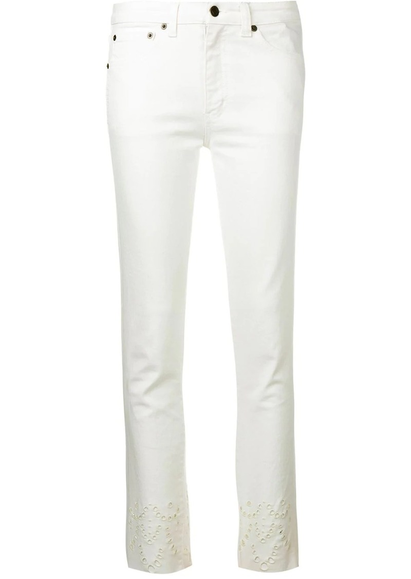 Saint Laurent decorative perforations skinny jeans