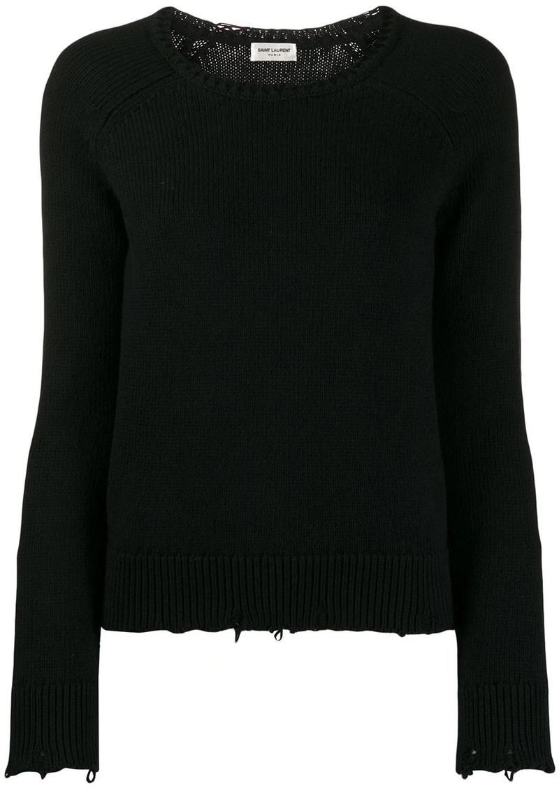 Saint Laurent distressed crew neck sweater