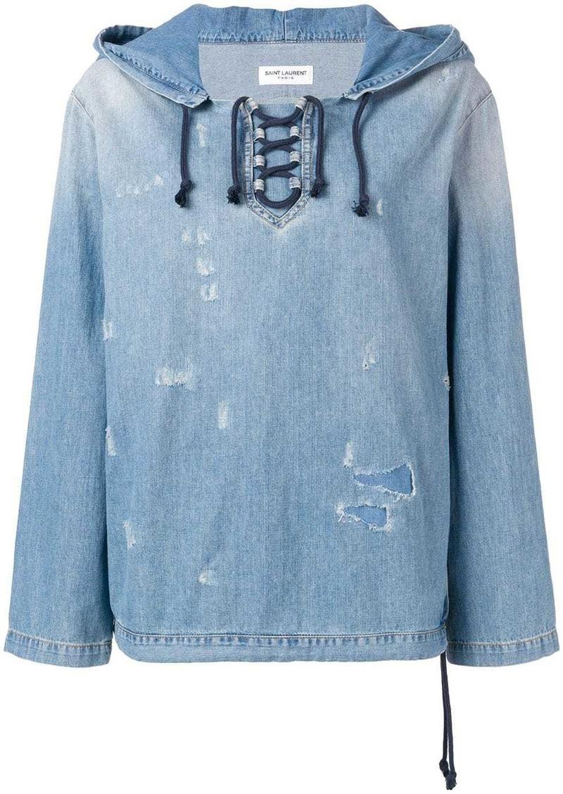 Saint Laurent distressed denim hoodie