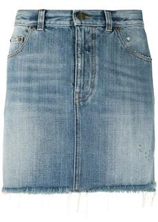 Saint Laurent distressed denim skirt