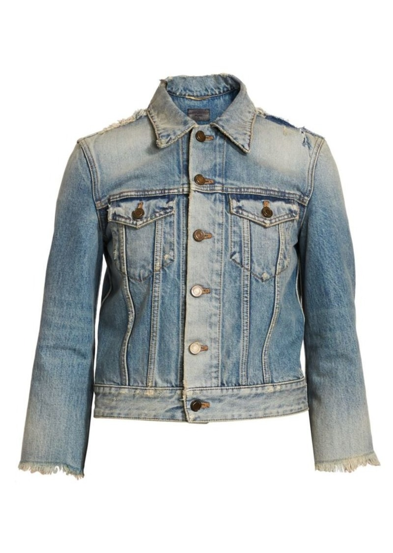 Saint Laurent Distressed Denim Trucker Jacket