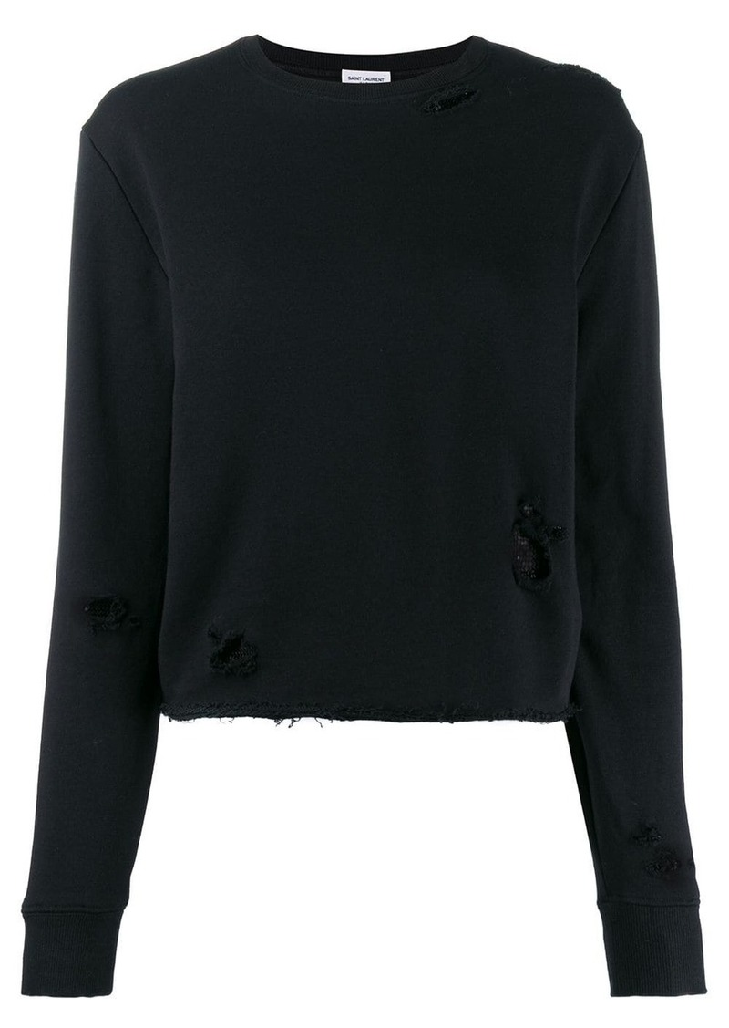 Saint Laurent distressed details knitted sweater