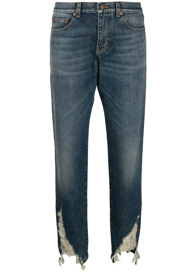 Saint Laurent distressed hem boyfriend jeans