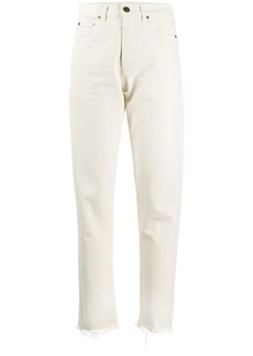 Saint Laurent distressed-hem straight-leg jeans