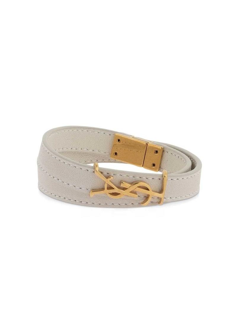 Saint Laurent Double Wrap Leather Bracelet