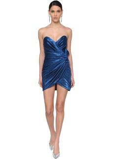 Saint Laurent Draped Heart Neckline Lamé Mini Dress