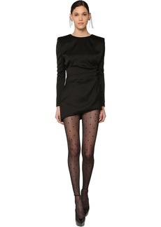 Saint Laurent Draped Silk Satin Mini Dress