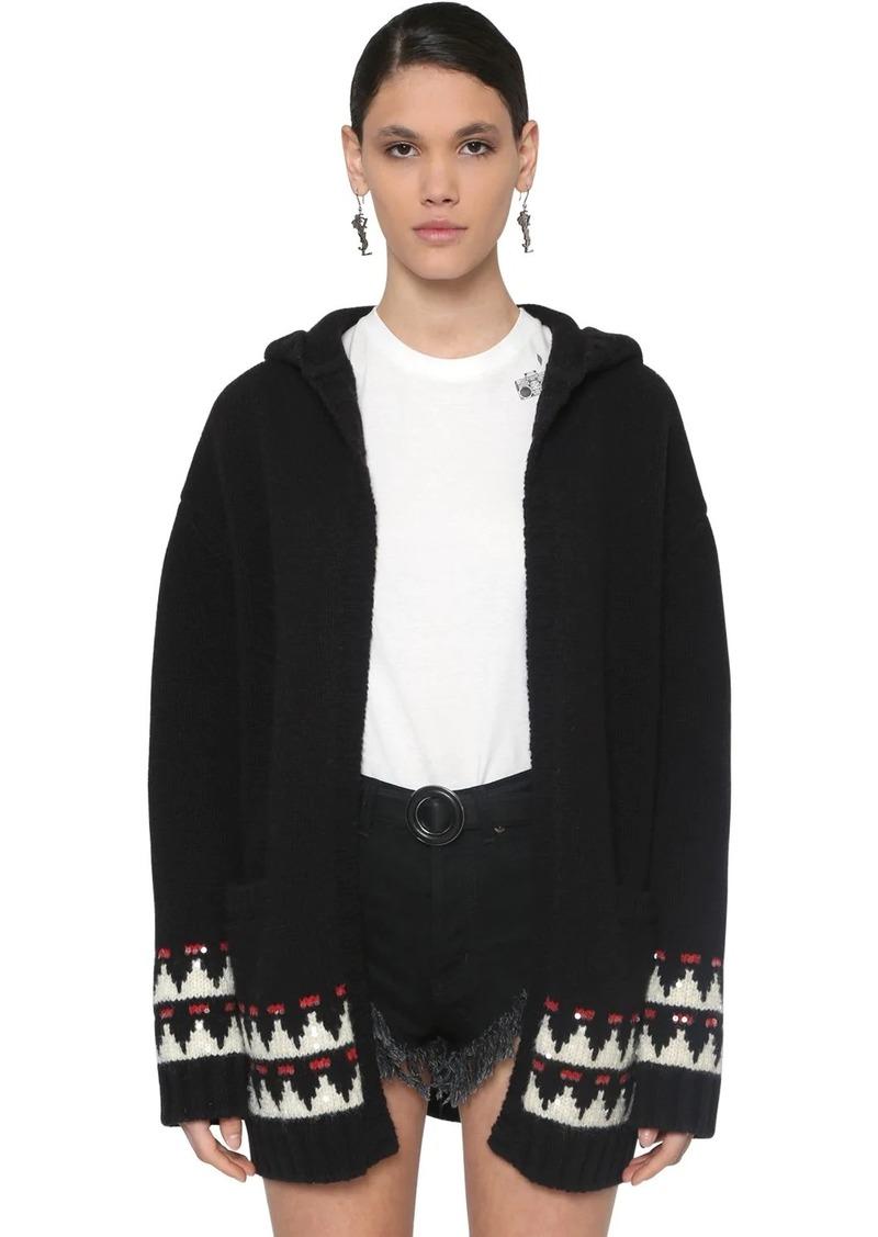 Saint Laurent Embellished Wool Maxi Cardigan W/ Hood