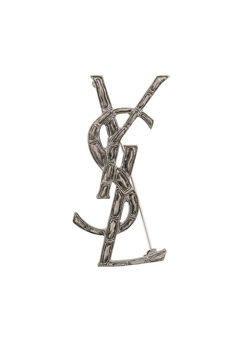 Saint Laurent embossed interlocked signature brooch