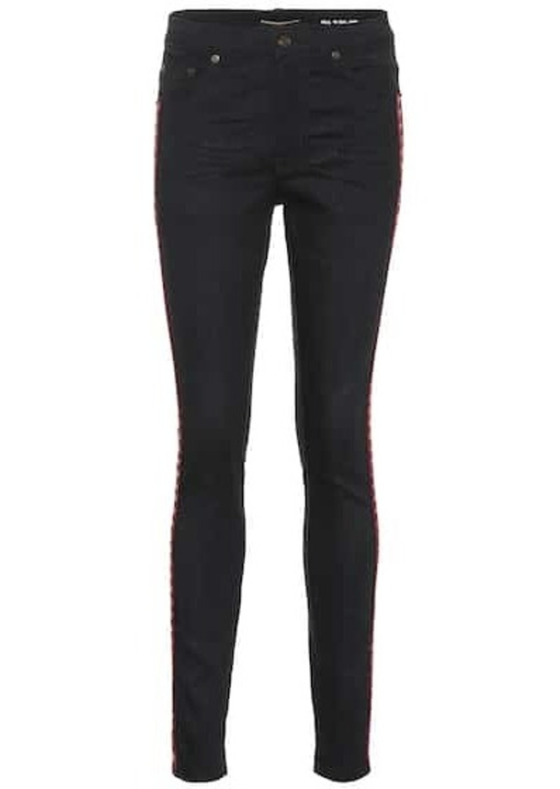 Saint Laurent Embroidered cotton skinny jeans