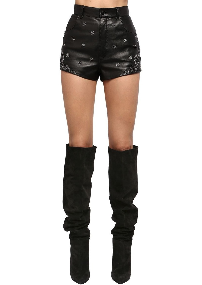 Saint Laurent Embroidered High Waist Leather Shorts