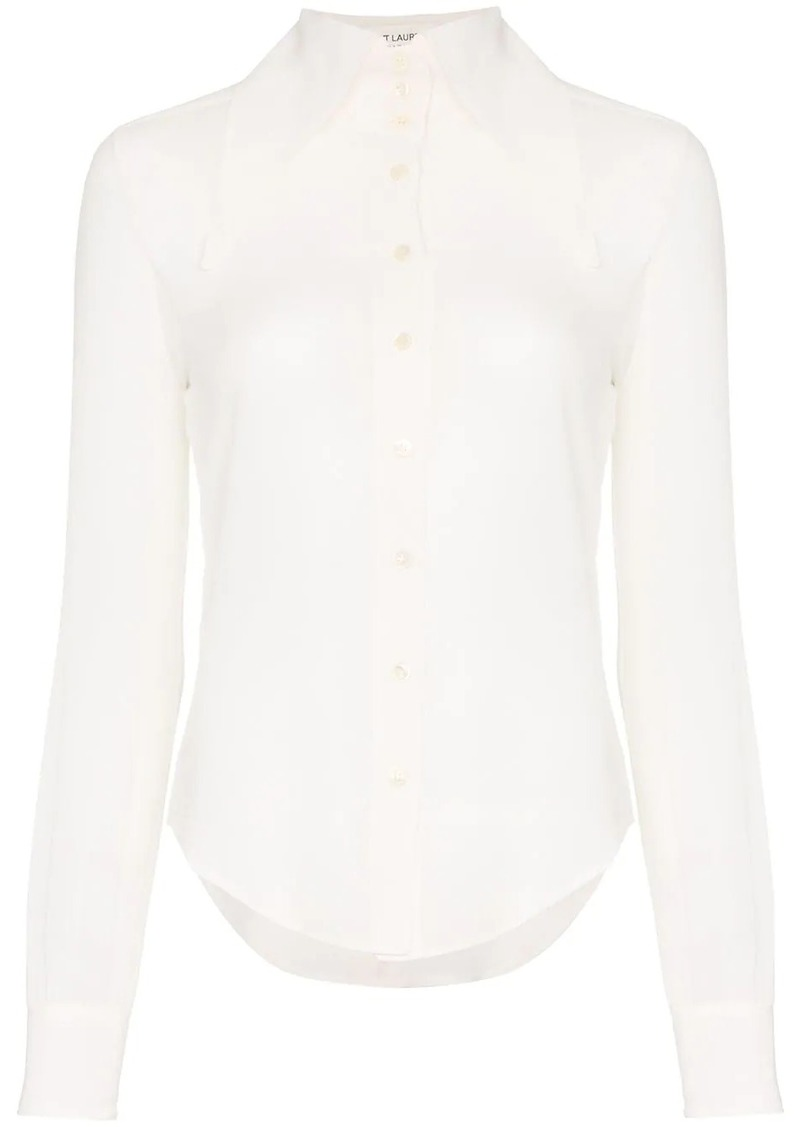 Saint Laurent extended wing collar long-sleeved silk shirt