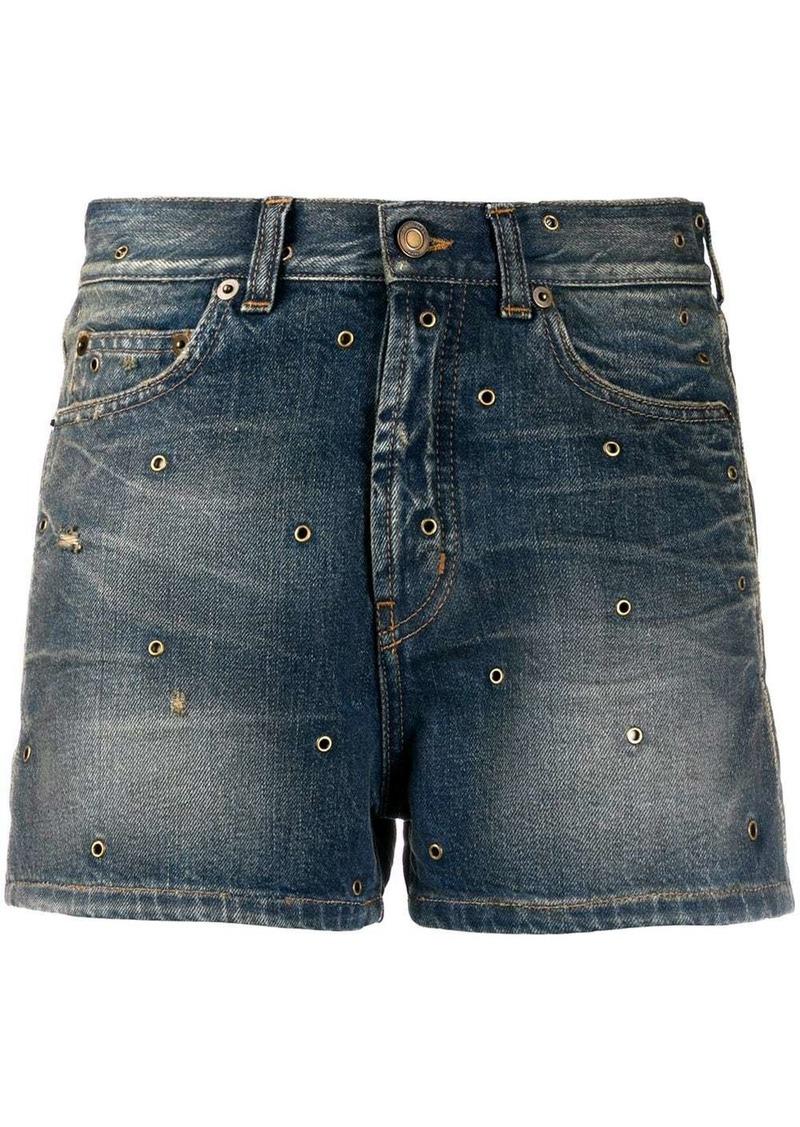 Saint Laurent eyelets denim shorts